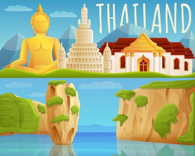 Ustaw Baner Tajlandii, Stylu Cartoon Premium Wektorów
