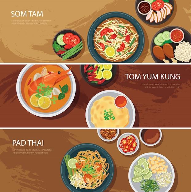 Ustaw Baner Tajskie Jedzenie Premium Wektorów