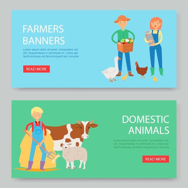 Ustaw baner zwierząt gospodarskich i domowych Premium Wektorów
