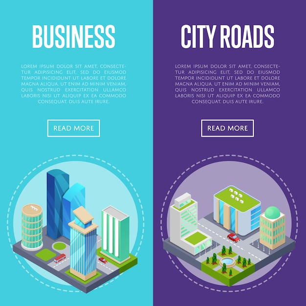 Ustaw Banery Dzielnicy Biznesowej W Centrum Miasta Premium Wektorów