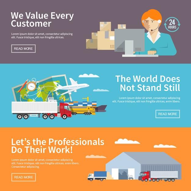 Ustaw Banery Logistyczne Kolorowe Płaskie Wektor Premium Wektorów