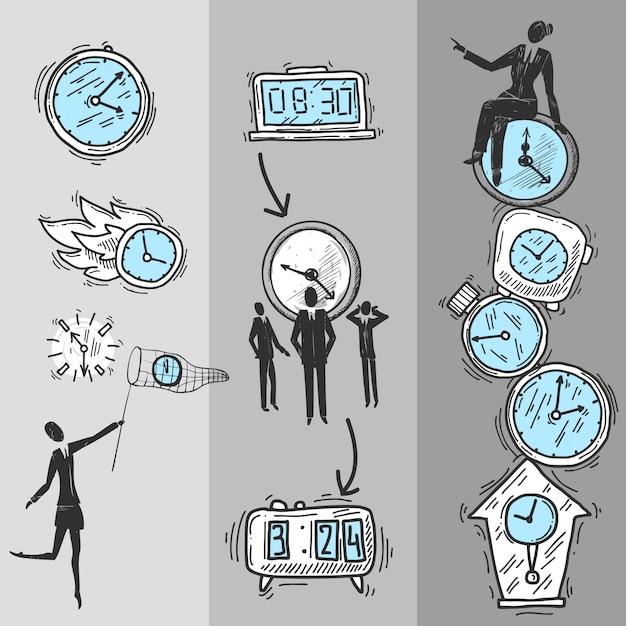 Ustaw banery zegara Darmowych Wektorów