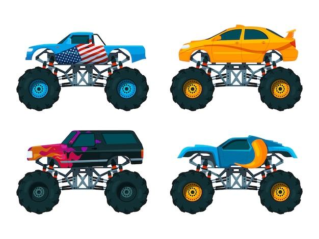 Ustaw duże samochody monster truck. zestaw zdjęć wektorowych Premium Wektorów