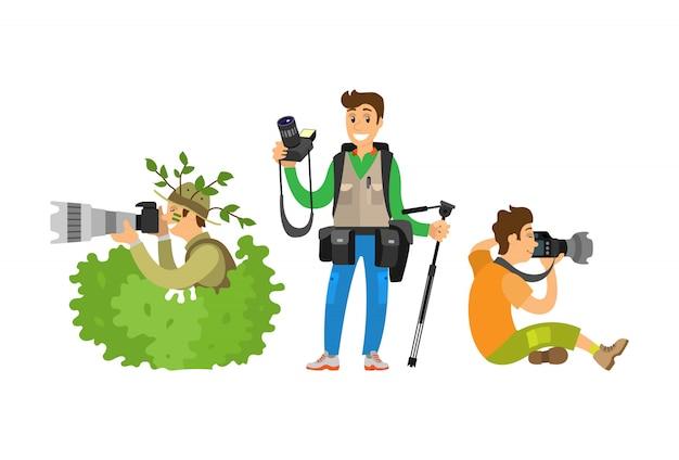 Ustaw dziennikarzy fotograficznych tworzących reportaż telewizyjny Premium Wektorów