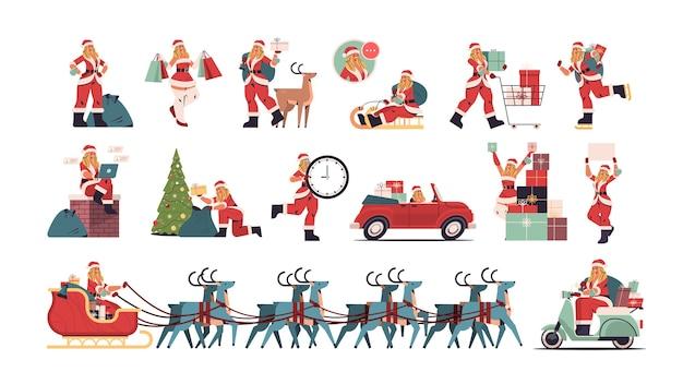 Ustaw Dziewczynę W Stroju świętego Mikołaja Przygotowuje Się Do Wesołych świąt I Szczęśliwego Nowego Roku święta Koncepcja Uroczystości Kobiecych Postaci Z Kreskówek Kolekcja Pełnej Długości Pozioma Ilustracja Wektorowa Premium Wektorów