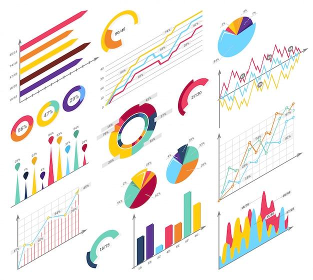 Ustaw elementy infografiki izometrycznej Premium Wektorów
