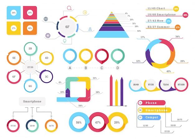Ustaw elementy infografiki. Premium Wektorów