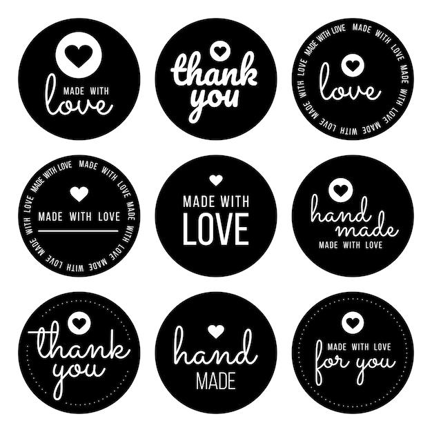 """Ustaw Etykiety Dla Sprzedawców, W Tym Etykiety """"dziękuję"""", """"ręcznie Robione"""", """"wykonane Z Miłością"""" I """"dla Ciebie"""". Premium Wektorów"""