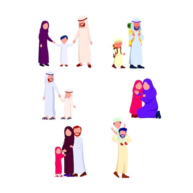 Ustaw grupę ilustracji szczęśliwa rodzina arabska Premium Wektorów