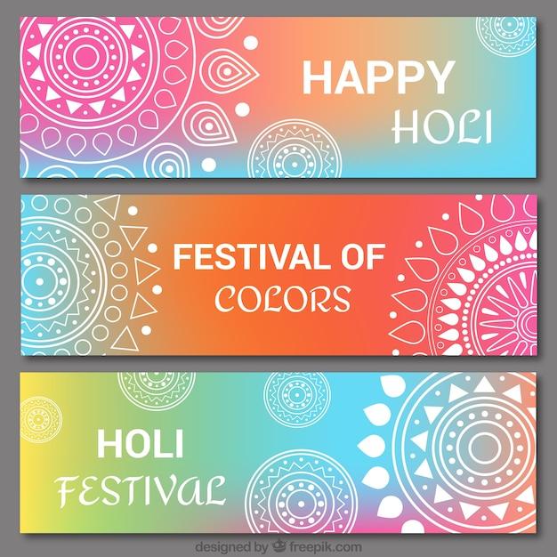 Ustaw holi kolorowe transparenty z mandali Darmowych Wektorów