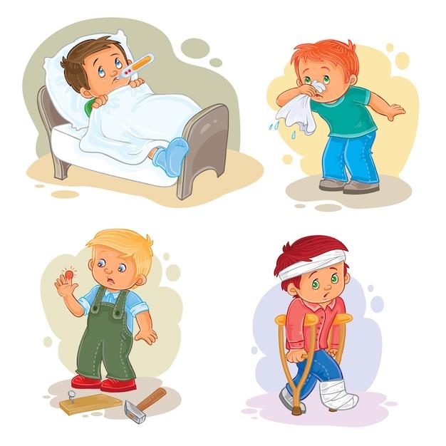 Ustaw ikonami mały chłopiec chory Darmowych Wektorów