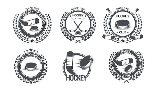 Ustaw Ikonę Hokeja Premium Wektorów
