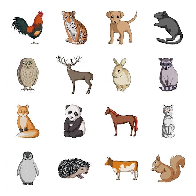 Ustaw Ikonę Kreskówka Zwierząt. Kreskówka Na Białym Tle Ikona Zoo I Gospodarstwa. Zwierzę . Premium Wektorów