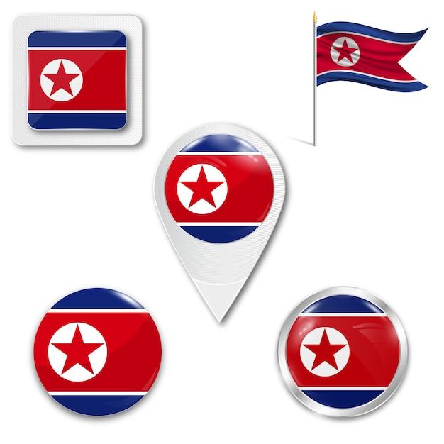 Ustaw Ikony Flagi Narodowej Korei Północnej Premium Wektorów
