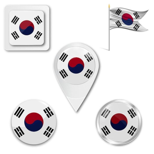 Ustaw Ikony Flagi Narodowej Korei Południowej Premium Wektorów