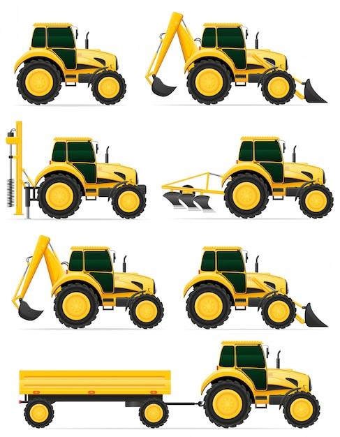 Ustaw Ikony żółty Ciągniki Ilustracji Wektorowych Premium Wektorów