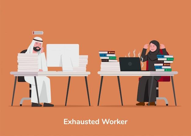Ustaw Ilustracja Arabski Wyczerpany Pracownik Premium Wektorów
