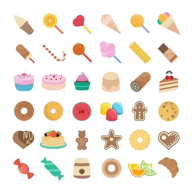 Ustaw Ilustracja Candy Premium Wektorów