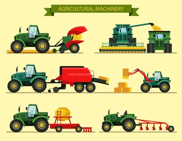 Ustaw Ilustracji Wektorowych Maszyn Rolniczych. Premium Wektorów