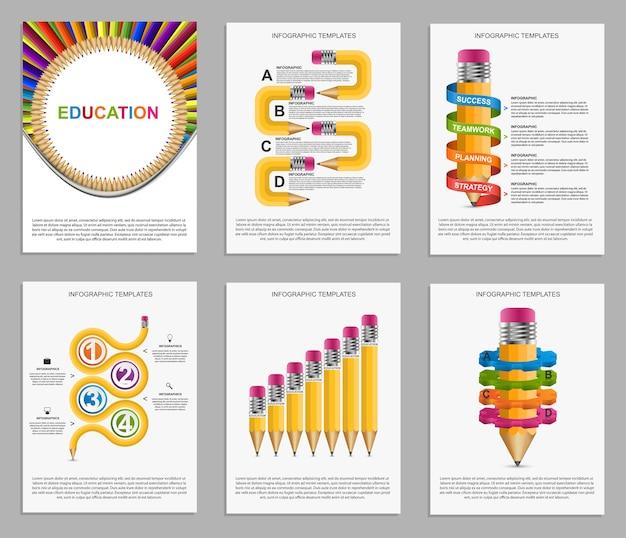 Ustaw Infografię Dla Broszur Edukacyjnych I Prezentacji. Premium Wektorów