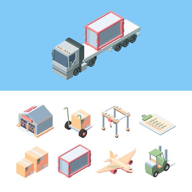 Ustaw Izometryczny ładunek Dostawy. Ekspresowa Obsługa Dostaw ładunków Samochodami Ciężarowymi, Samolotami, Wysyłanie Paczek Wózkiem Widłowym Do Magazynu, Deklaracja Napełnienia, Ruchomy Dźwig. Premium Wektorów