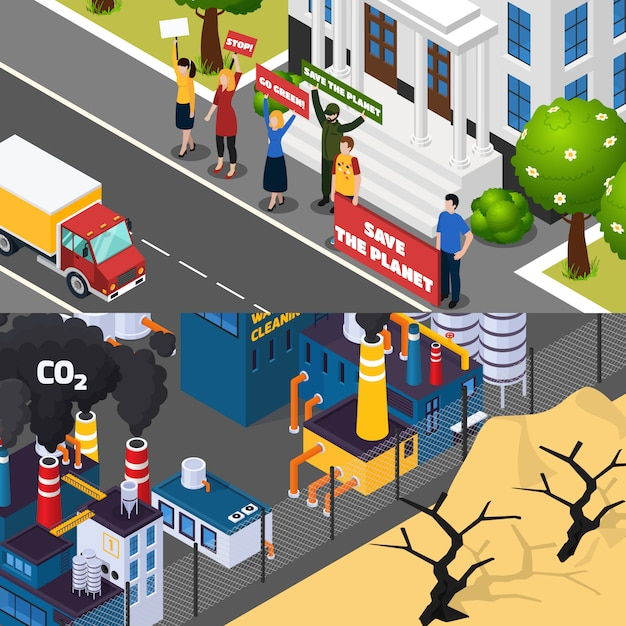 Ustaw izometryczny sztandar globalnego ocieplenia Darmowych Wektorów