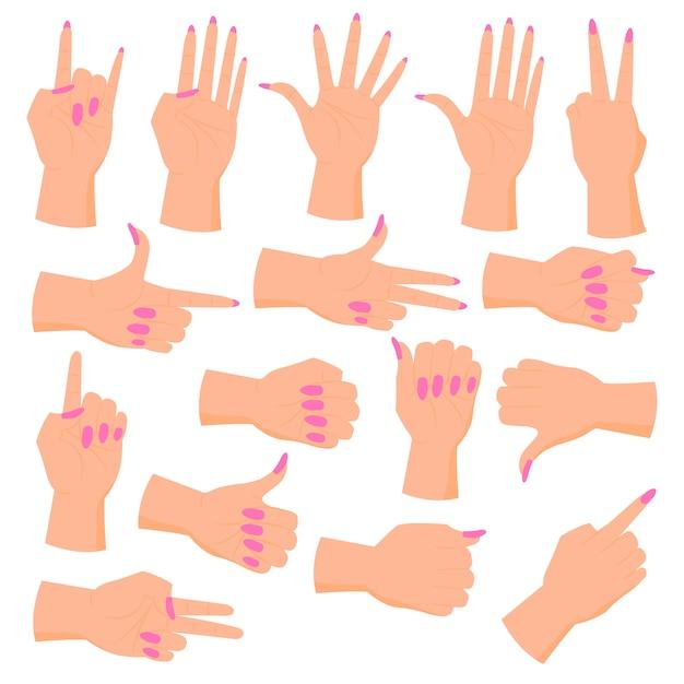 Ustaw kobiece dłonie. ręce w różnych gestach. Premium Wektorów
