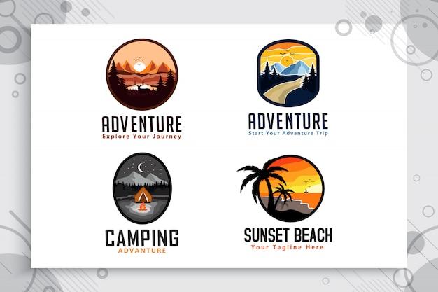 Ustaw kolekcję mountain adventure & logo plaży z koncepcją odznaki. Premium Wektorów