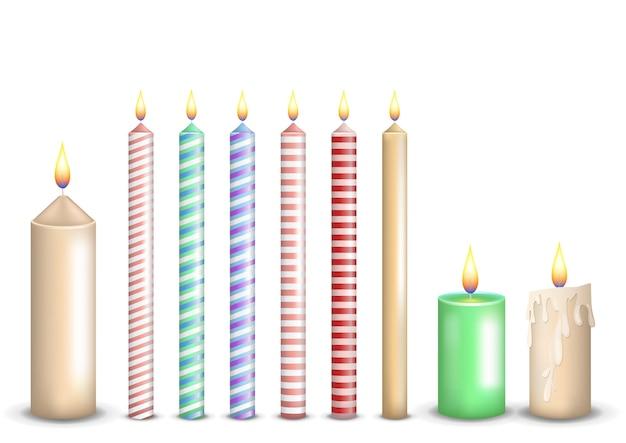 Ustaw Kolekcję Realistycznych Kolorowych świec Premium Wektorów