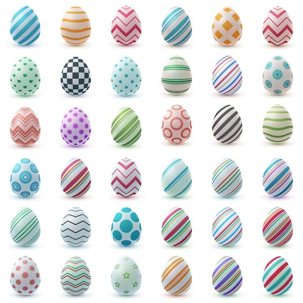 Ustaw kolor realistyczne jajko. wesołych świąt wielkanocnych Premium Wektorów