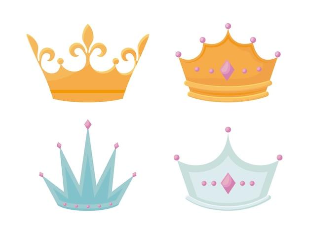 Ustaw koronę monarchiczną z kamieniami szlachetnymi Darmowych Wektorów