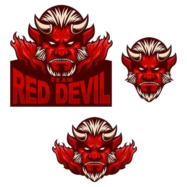 Ustaw logo maskotki czerwonego diabła Premium Wektorów