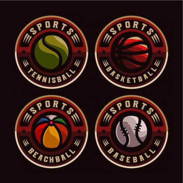 Ustaw logo znaczek sportowy Premium Wektorów