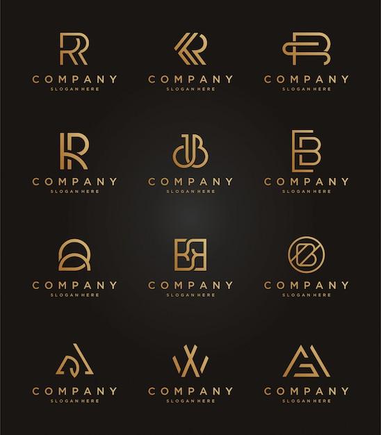 Ustaw luksusowy szablon logo Premium Wektorów