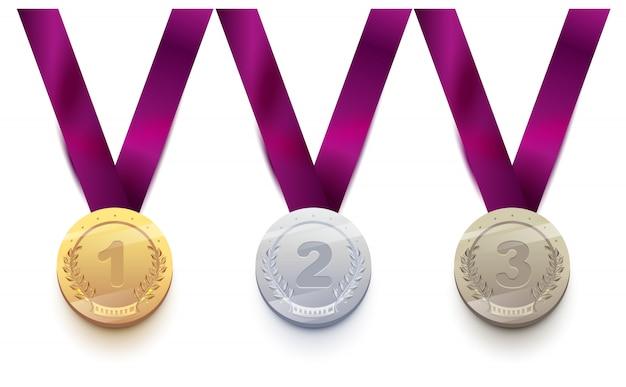 Ustaw Medal Sportowy 1 Złoty, 2 Srebrny, 3 Brązowy Premium Wektorów