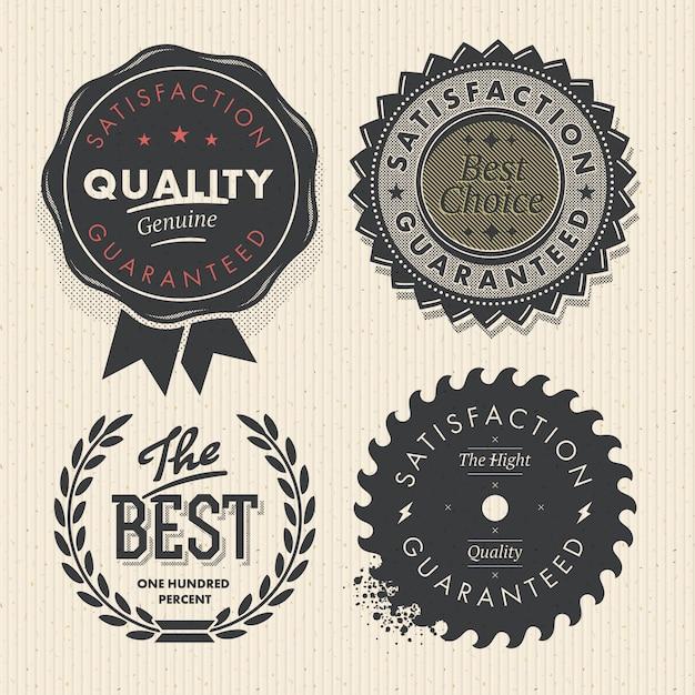 Ustaw Najwyższą Jakość I Etykiety Gwarancyjne W Stylu Retro Vintage Premium Wektorów