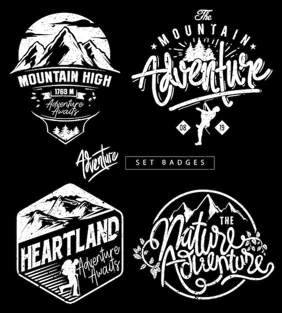 Ustaw odznaki tematyczne adventure mountain Premium Wektorów