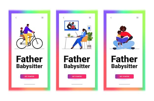 Ustaw Ojcowie Rasy Mieszanej Spędzający Czas Z Małymi Dziećmi Rodzicielstwo Koncepcja Ojcostwa Pozioma Ilustracja Przestrzeni Kopii Premium Wektorów