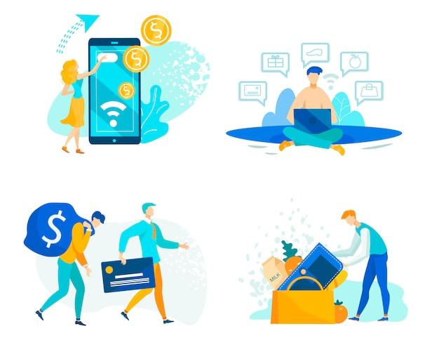 Ustaw Operacje Finansowe Za Pomocą środków Pieniężnych I Pożyczkowych Premium Wektorów