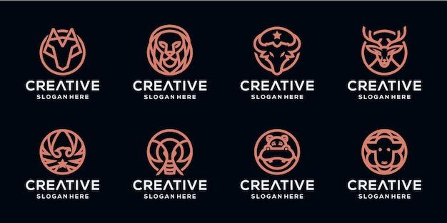 Ustaw Pakiet Logo Monoline Dla Zwierząt Premium Wektorów