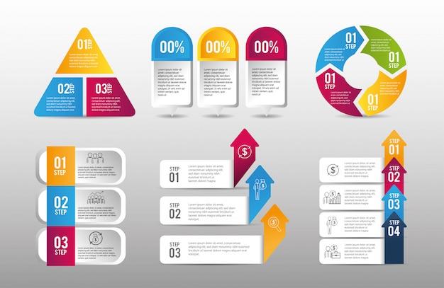 Ustaw plan strategiczny danych biznesowych infografiki Premium Wektorów