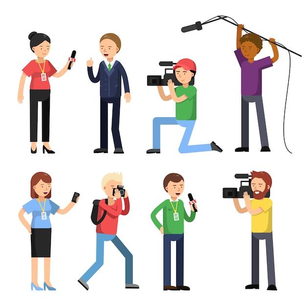 Ustaw postaci z transmisji, reportażu i wywiadu Premium Wektorów