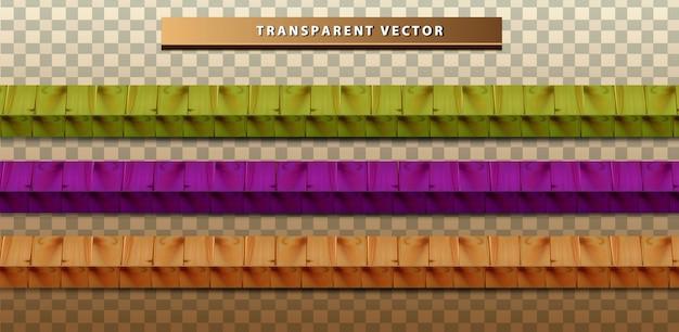 Ustaw Przezroczystą Kolekcję Kolorowych Tekstur Drewna Darmowych Wektorów