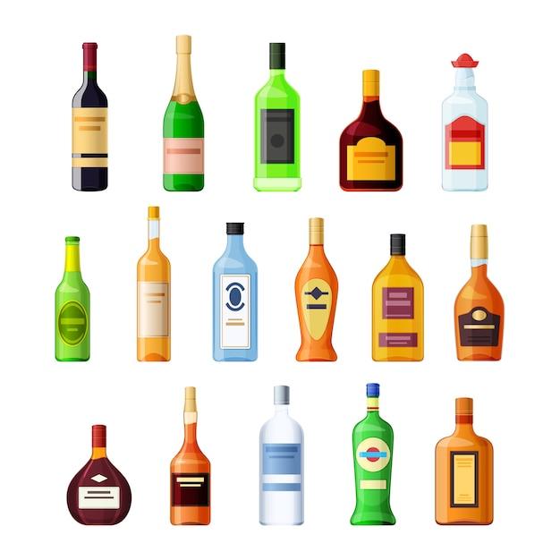 Ustaw Pustą Szklaną Butelkę Napoju Alkoholowego Premium Wektorów