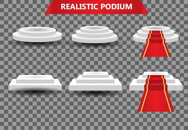 Ustaw realistyczną nagrodę na podium z czerwonego dywanu, szablon ceremonii mistrza ilustracji szablon Premium Wektorów
