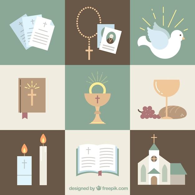 Ustaw Religie Simbol Premium Wektorów
