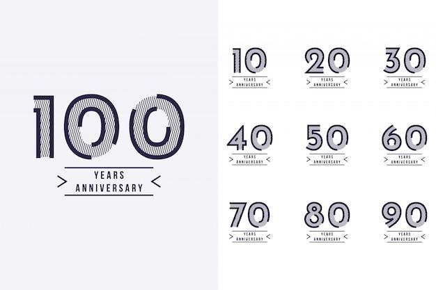 Ustaw Rocznicę 10 Lat Na 100-lecie Szablonu Projektu Premium Wektorów