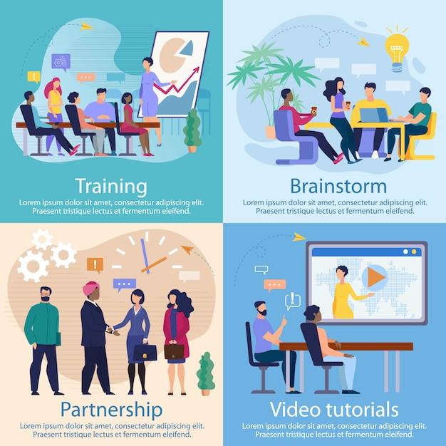 Ustaw samouczki wideo dotyczące banerów reklamowych Premium Wektorów