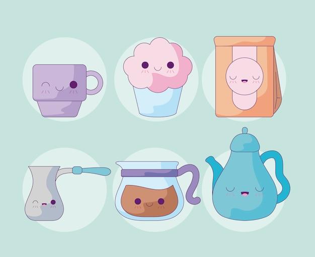 Ustaw słodki czajniczek z ikonami stylu kawaii Premium Wektorów