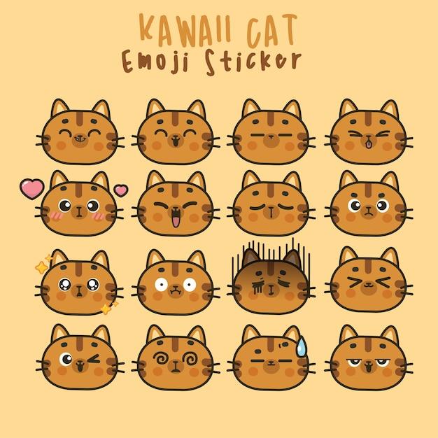 Ustaw Słodkie Twarze Kawaii Cat śmieszne Emotikony W Różnych Wyrażeniach Dla Sieci Społecznościowych. Ekspresja Postaci Anime I Ilustracja Twarzy Emotikon Premium Wektorów